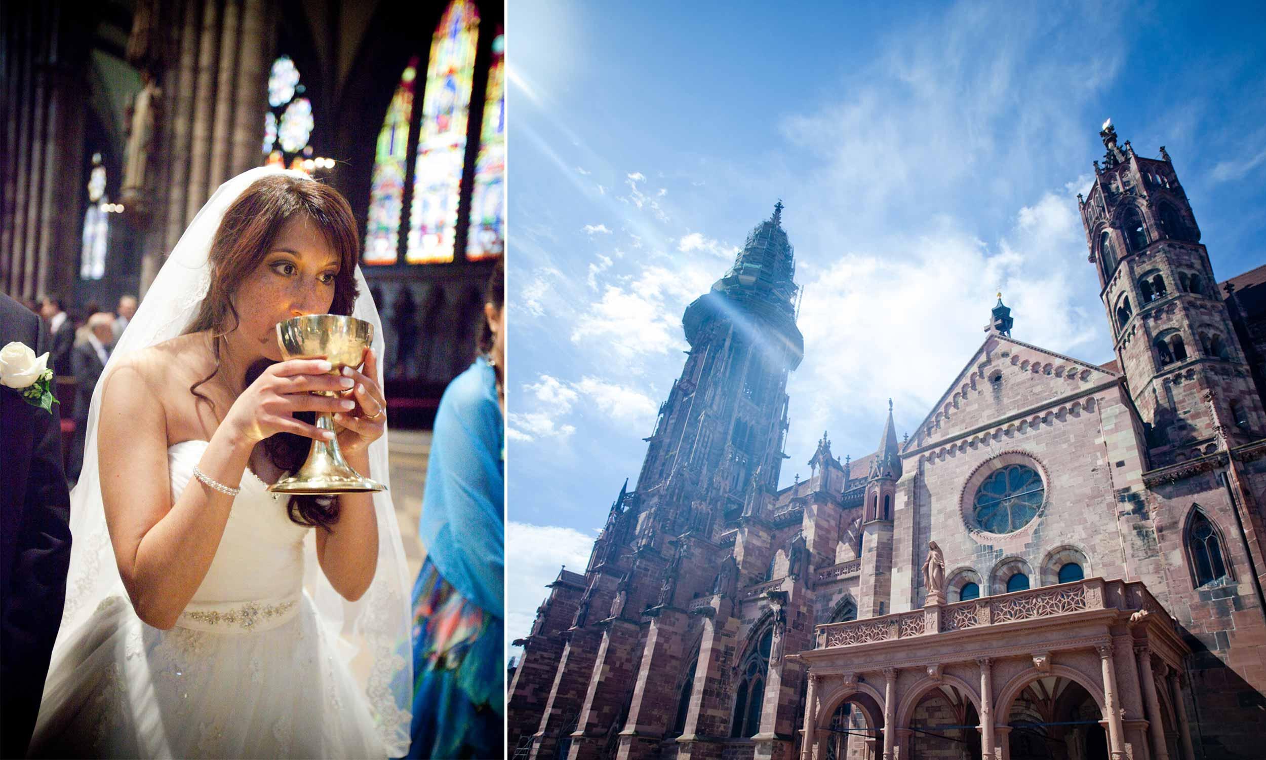 Hochzeitsreportage Freiburg Basel Kirche Braut trinkt